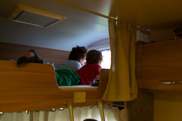 my son and me in a motorhome