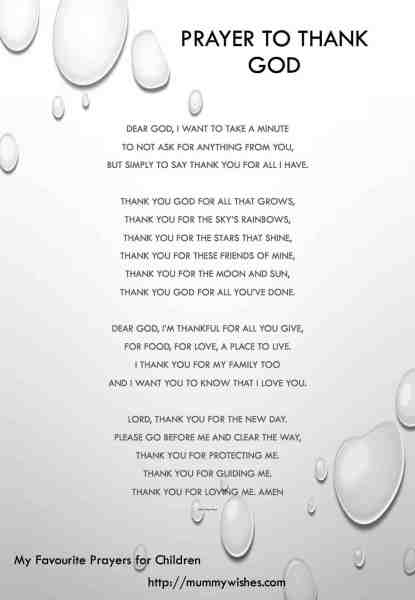 Children's prayer Thank you