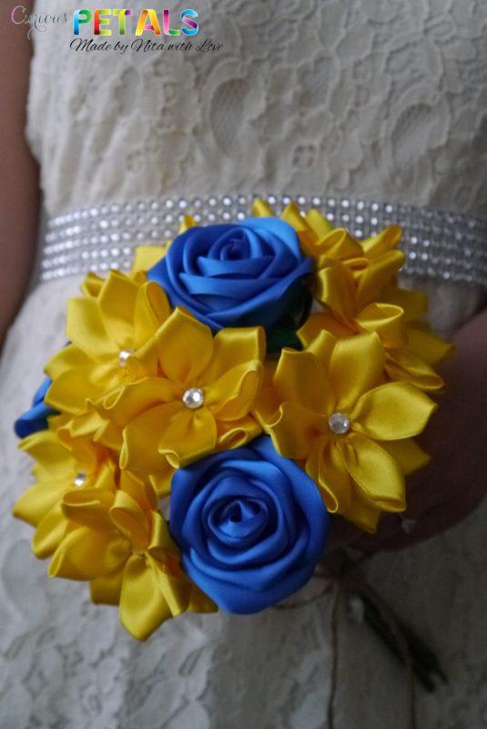 Blue & Yellow Satin Ribbon Rose Bouquet, Handmade