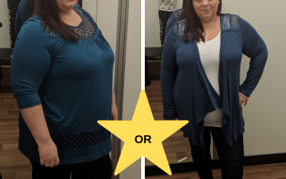 Woman wearing two different outfits, split screen