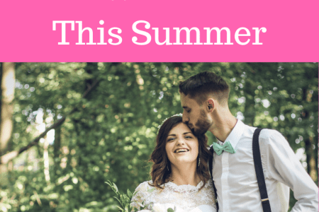 Bride and groom in the summer
