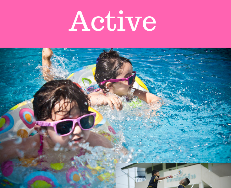 Main image - two toddlers in a swimming pool with rubber ring. Small image - two teenagers dancing as a sport to stay active