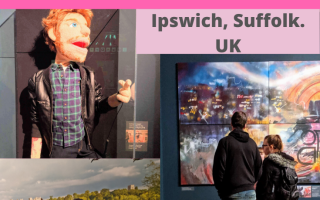 3 images which contain - 1. Ed Sheeran puppet. 2. Photograph of the back of Ed Sheeran looking at the castle on the hill. 3. Man and woman looking at one of the exhibits in the Ed Sheeran: Made in Suffolk exhibition.