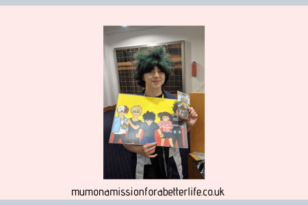 Girl in cosplay wearing a green wig and holding merch from a con.