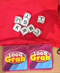 Cards and dice for Logo Grab