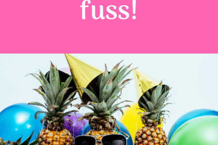 Three pineapples wearing sunglasses, party hats and surrounded by balloons.