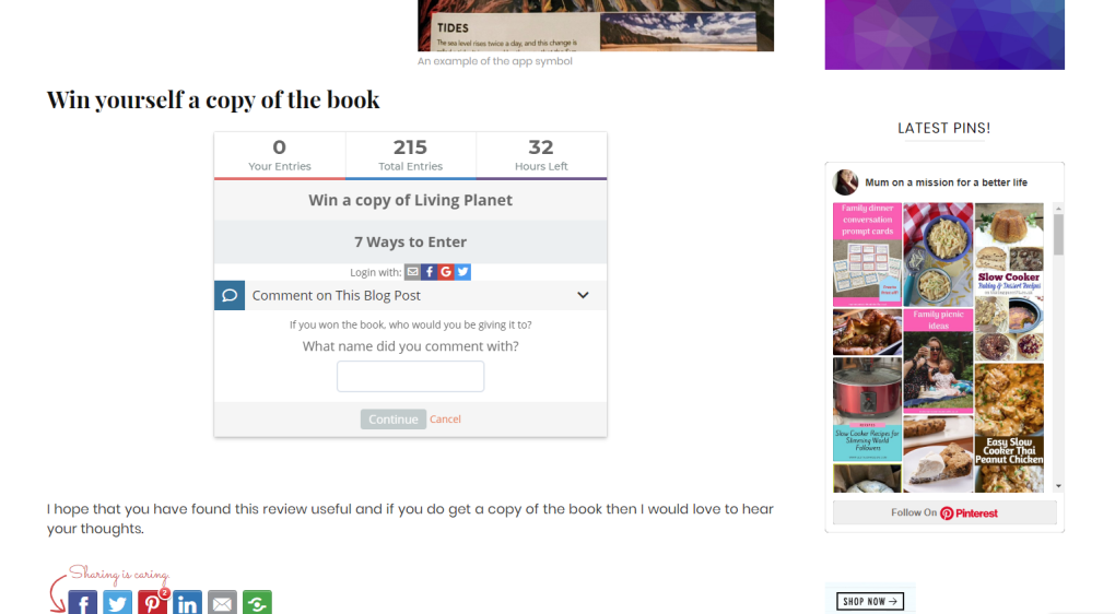 Gleam giveaway entry as part of blogging tools