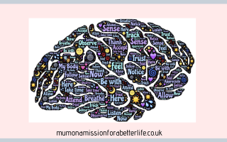Brain full of positive words to counteract negative thinking patterns
