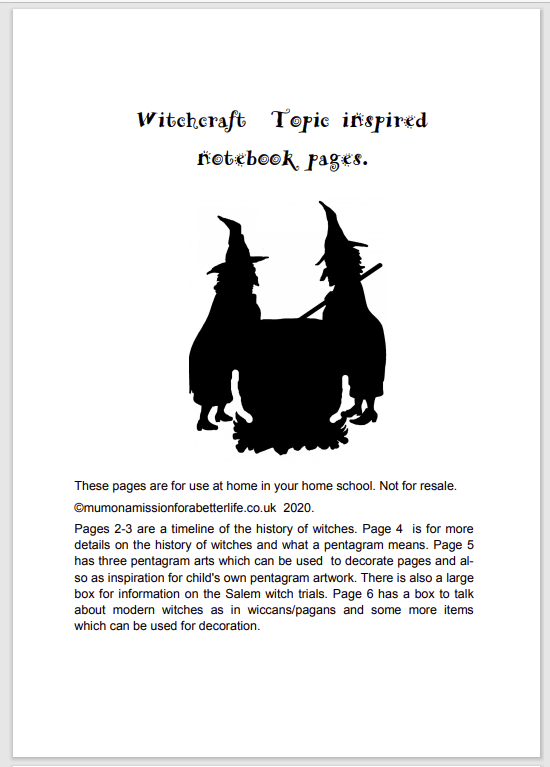 free witchcraft printable