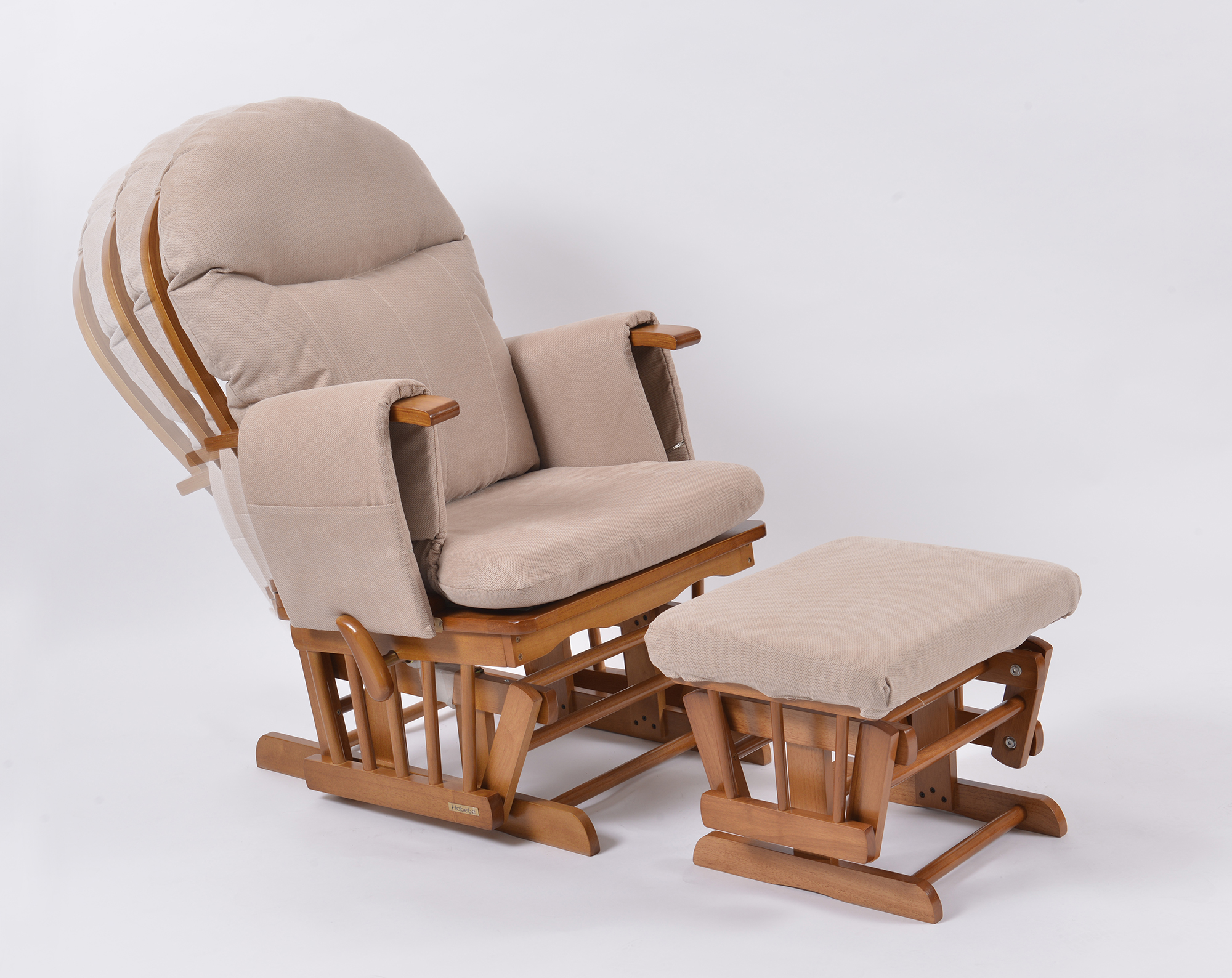 comfy nursing chair wooden swing habebe glider and stool  oak wood cream washable