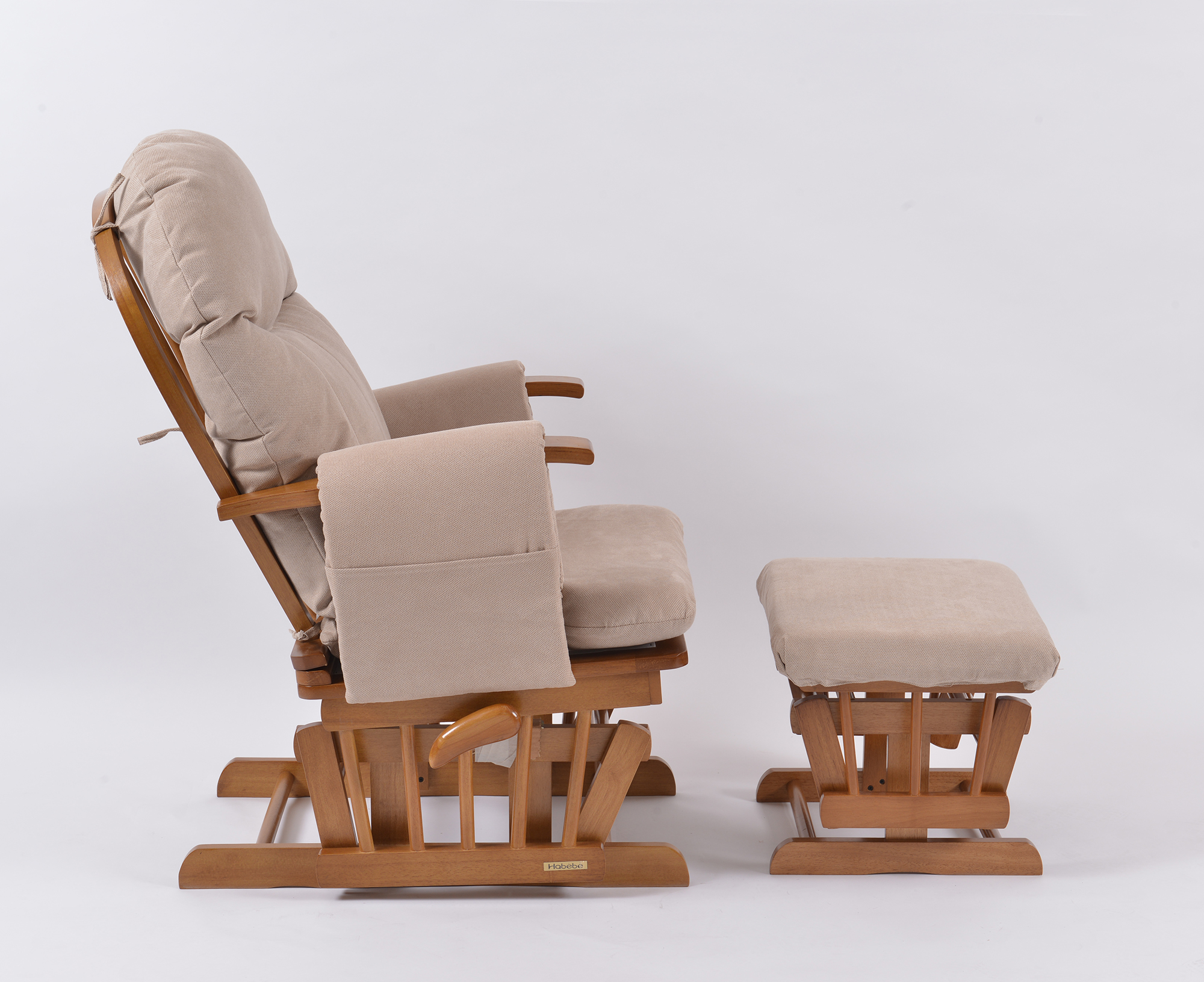 maternity rocking chair inglesina high recall habebe glider and stool  oak wood beige washable
