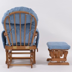 Chair And Stool Covers Milton Keynes Habebe Glider  Oak Wood Blue Washable