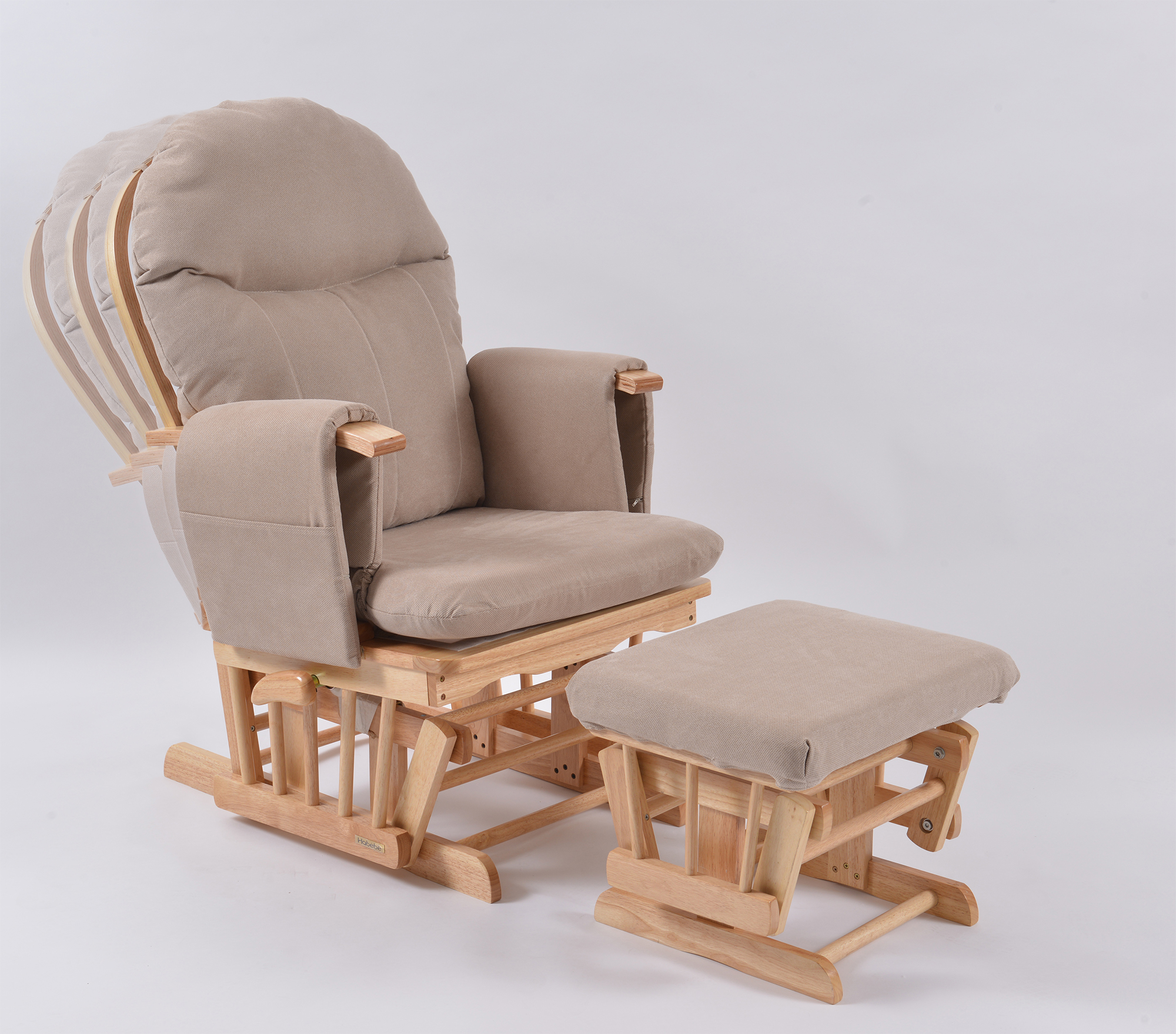 comfy nursing chair mini lounge chairs habebe glider and stool  beech wood beige washable