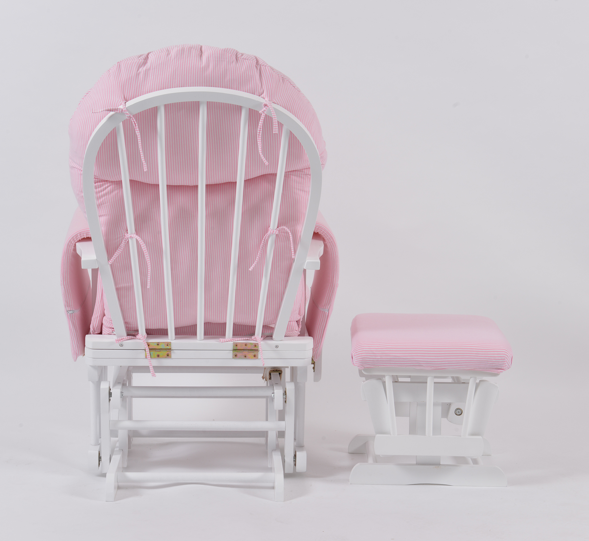 pink chair covers for sale wicker outdoor dining chairs melbourne habebe glider and stool  white wood stripe