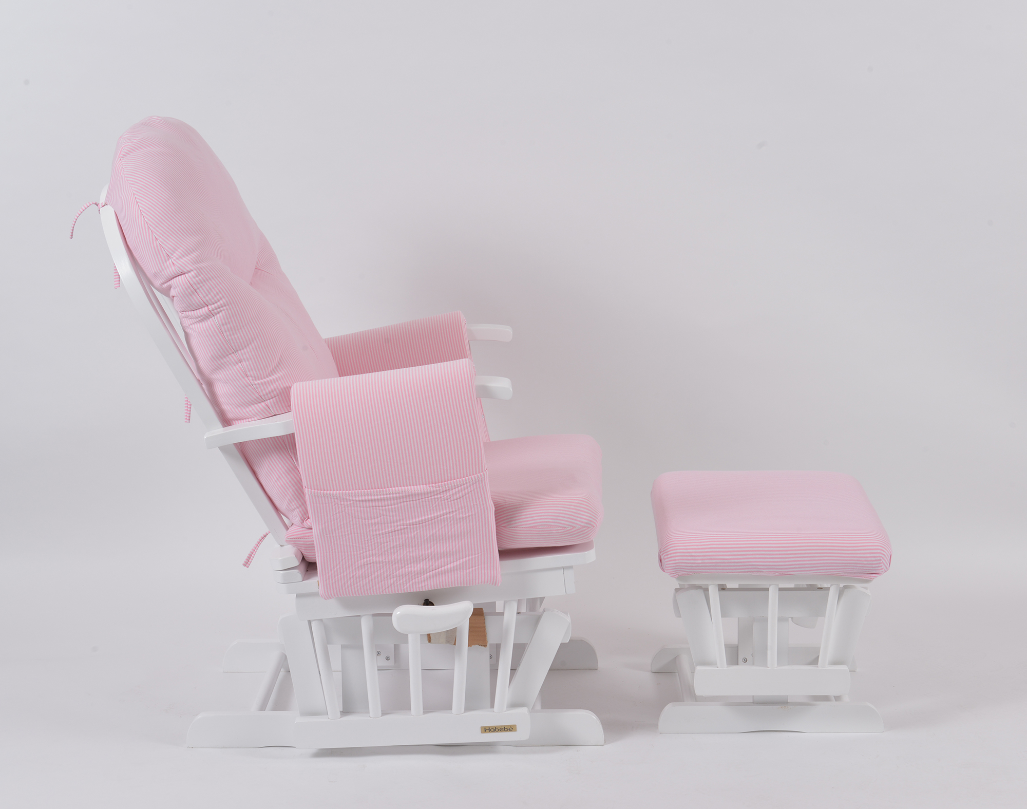 white wood rocking chair slipcovers for slipper chairs habebe glider & stool – pink stripe washable covers + brake | mums 2 b
