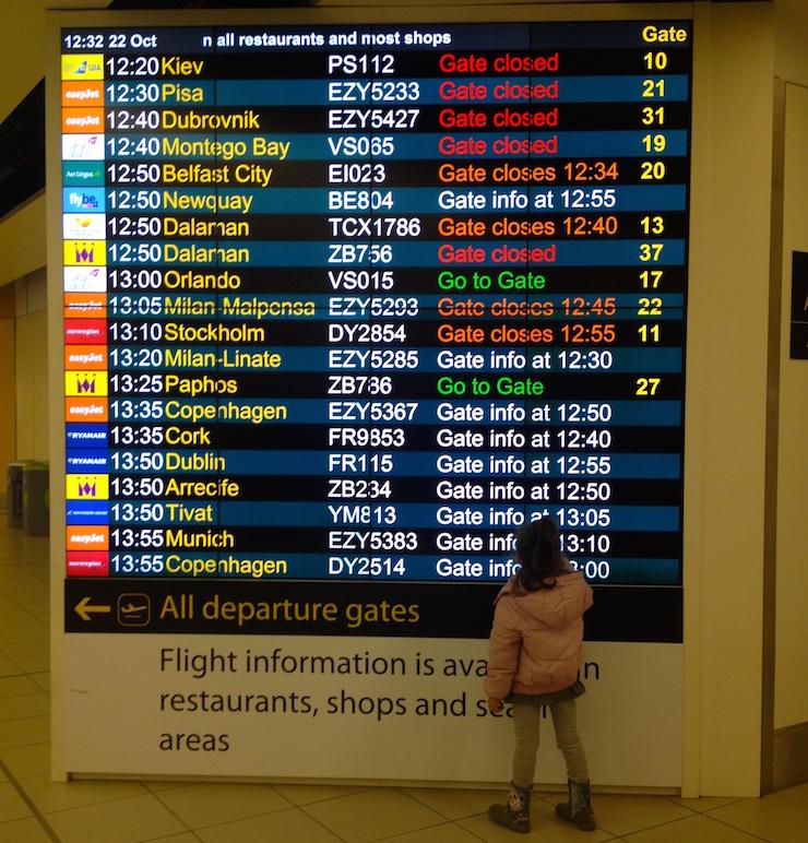 London Gatwick flight information. Copyright Gretta Schifano