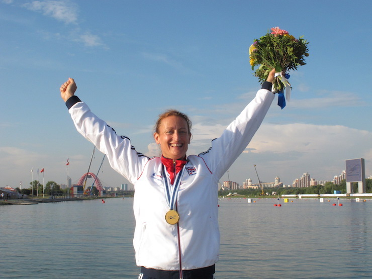 Anne Dickins celebrating her gold medal win at the 2014 Canoe World Championships in Moscow. Image courtesy of Anne Dickins