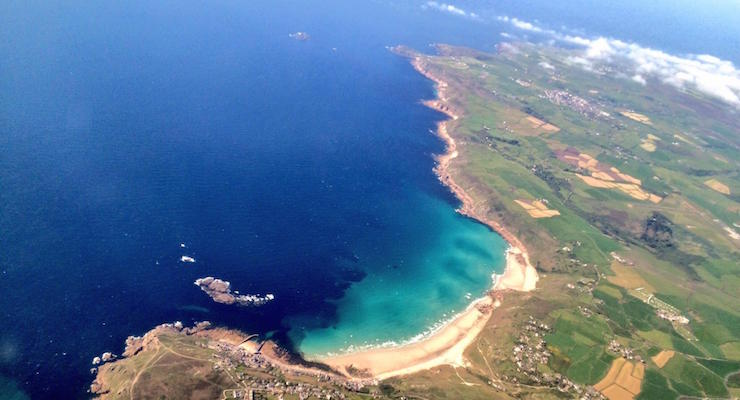 View from the plane en route to the Isles of Scilly from Exeter. Copyright Gretta Schifano
