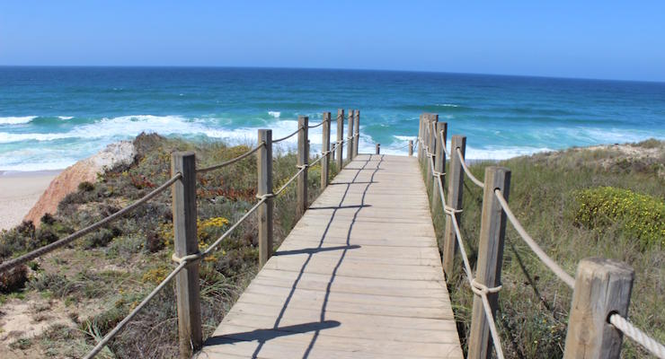 Boardwalk to beach, Praia D'el Rey, Portugal. Copyright Gretta Schifano
