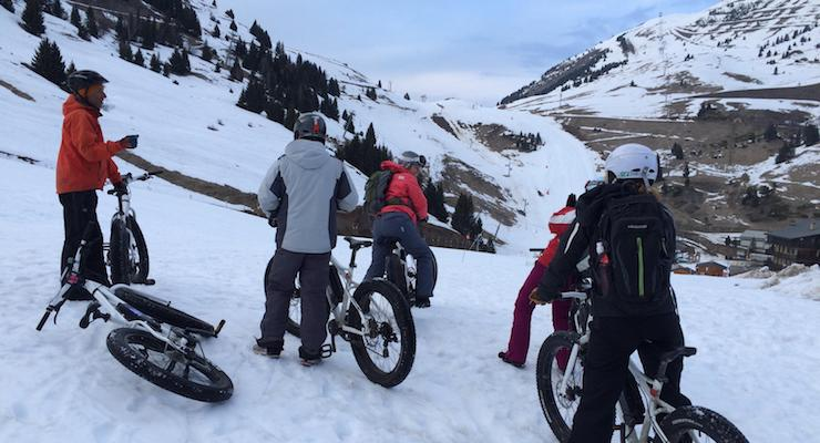 Preparing to cycle down the ski slope. Copyright Gretta Schifano