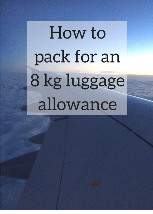 If you need to travel light, this post has practical tips and advice on how to pack for an 8 kg luggage allowance on a flight - click through for full details and packing list,