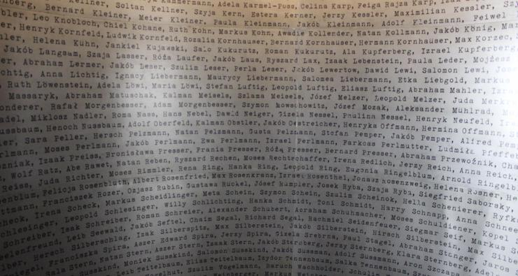 List of people saved by Oskar Schindler, from Schindler Factory, Kraków. Copyright Gretta Schifano
