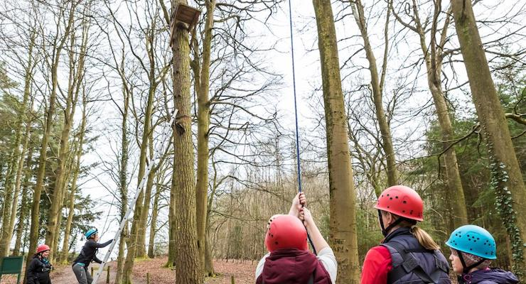 Teamwork at the leap of faith challenge, Forest of Dean. Copyright David Broadbent