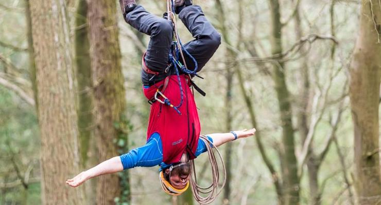 Upside down on the zipwire, Forest of Dean. Copyright David Broadbent