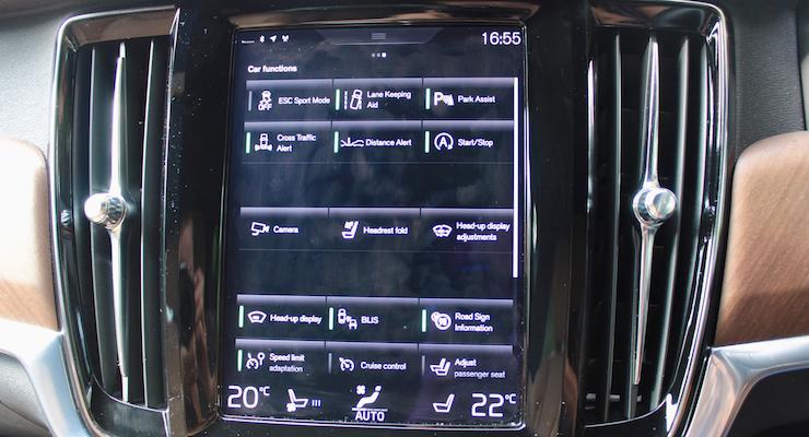 Touchscreen on a Volvo V90 D5 Inscription. Copyright Gretta Schifano