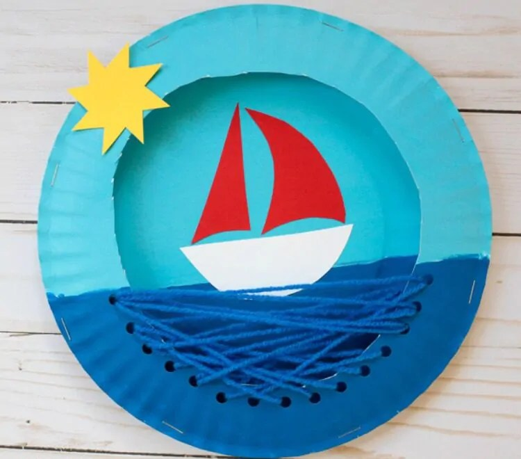 Ahoy little crafters How to make a paper plate boat in