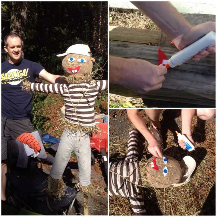 How to make a scarecrow 6 - adding the face