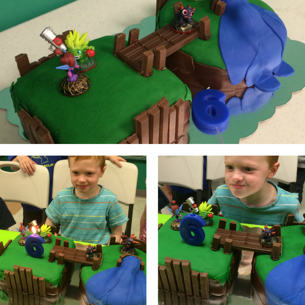 Skylander Floating Island Cake: blowing out the candle