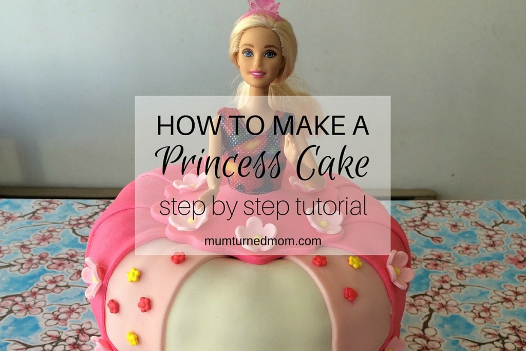 How to make a Princess Cake: easy, step by step tutorial to create a princess cake using a layered cake, a Barbie and fondant icing.