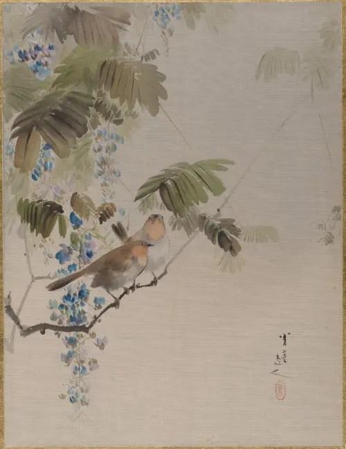 渡辺省亭-《藤に小禽図》