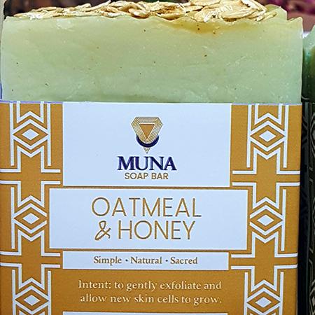 Muna Oatmeal & Honey Soap Bar Closeup