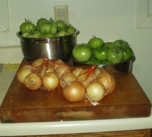 Green Tomatoes and Yellow Onions
