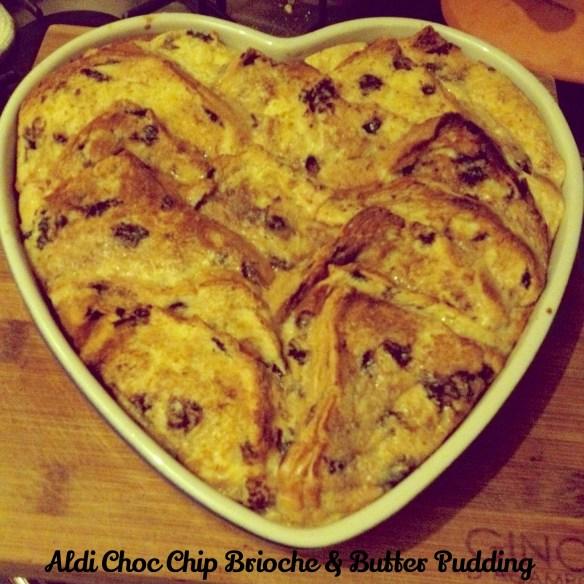 Choc and chip brioche and bread pudding