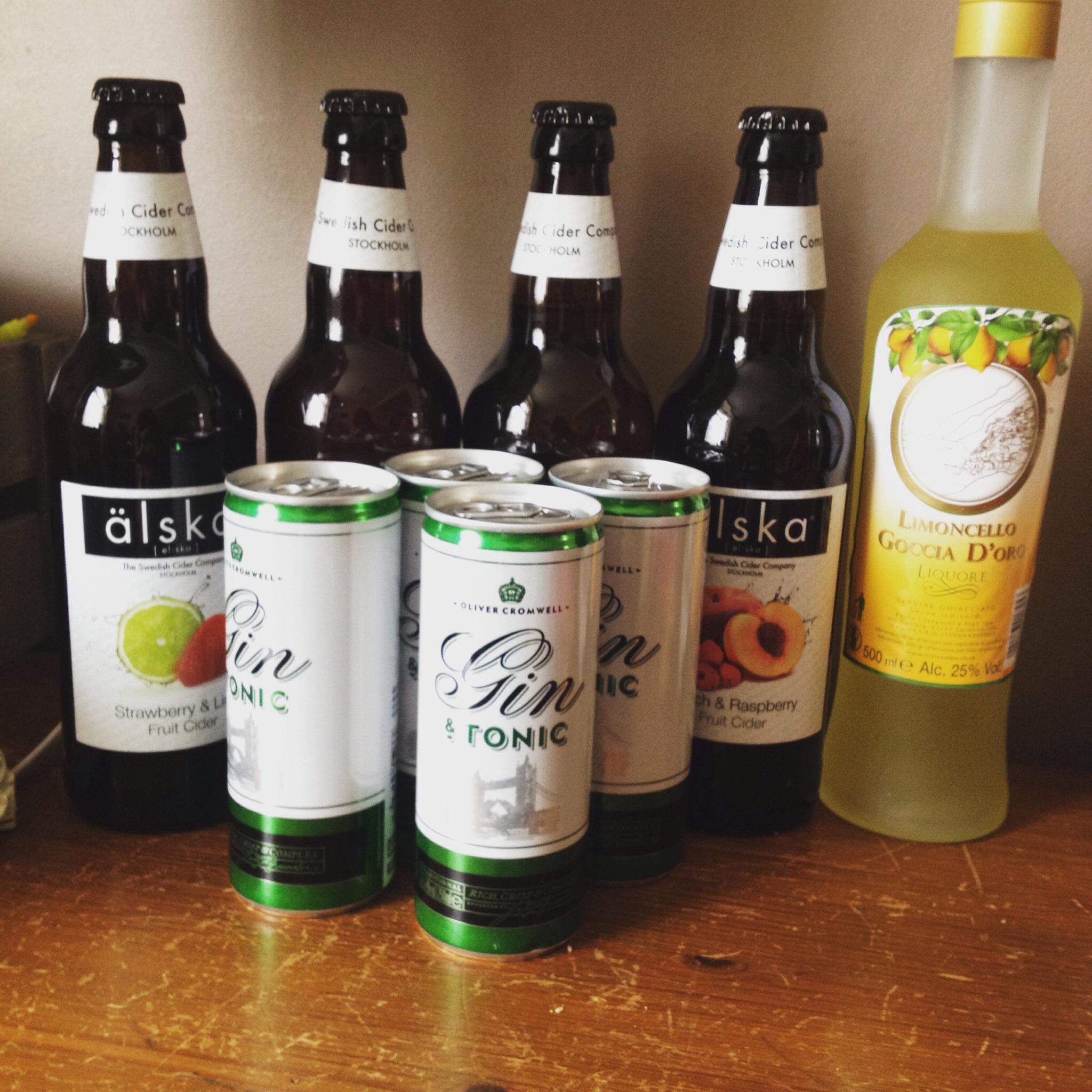 Aldi Alska cider, gin and tonic in a tin, limoncello