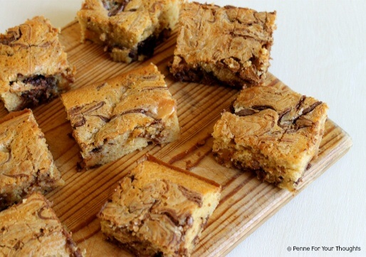 Triple chocolate and caramel brownies