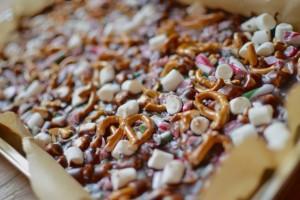 candy cane & pretzel fudge