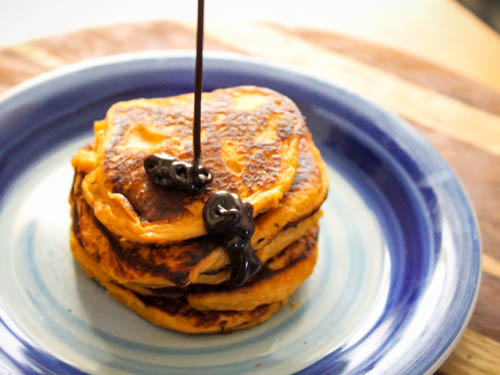 sweet potato pancakes with choc shot