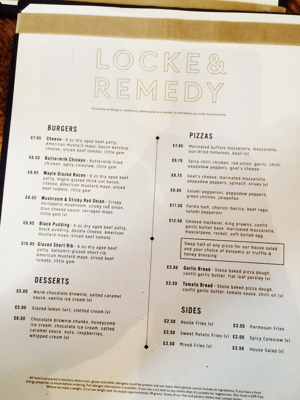 locke and remedy menu