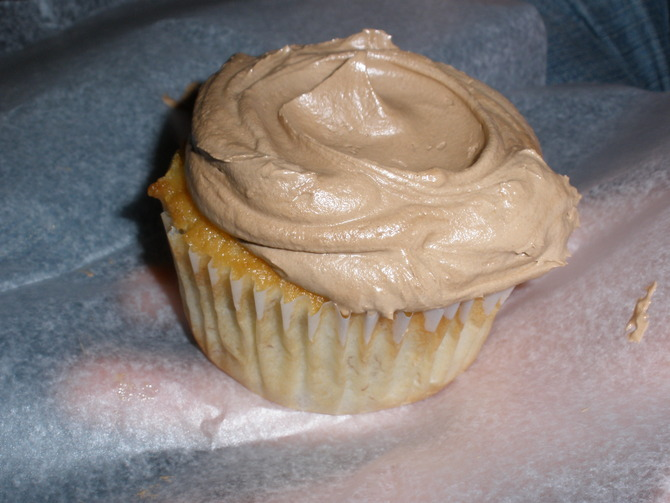 Amazing French chocolate frosted banana cupcake from Butter Lane!