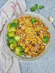 Tofu Mushroom Stir Fry with brussel sprouts