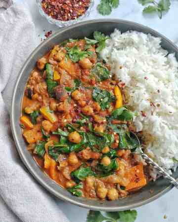 Chickpea and Eggplant Curry with Rice
