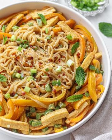 Peanut Sauce Noodles with Tofu