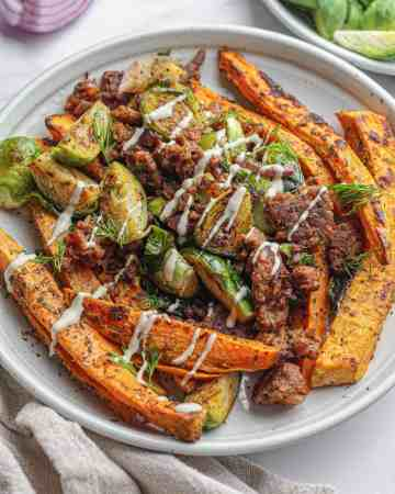 Beefy Brussel Sprout Skillet with Sweet Potatoes
