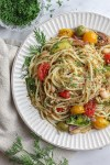 Cannellini Bean Spaghetti with Brussel Sprouts and Tomatoes