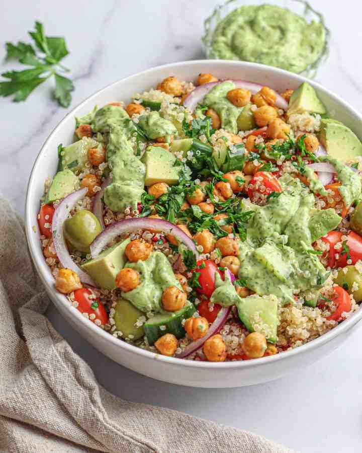 Quinoa Salad with Avocado Dill Dressing