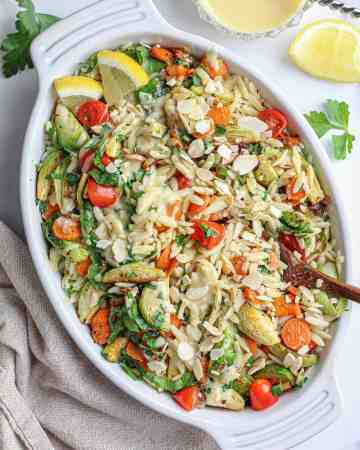 Orzo Vegetable Salad with Vegan Honey Mustard